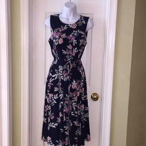 💐 3/$45 Charter Club Floral A-line Midi dress.